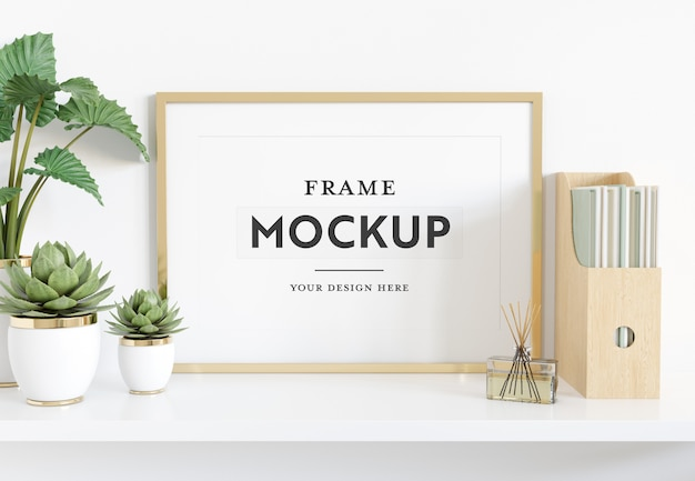 Horizontal frame laying on shelf mockup