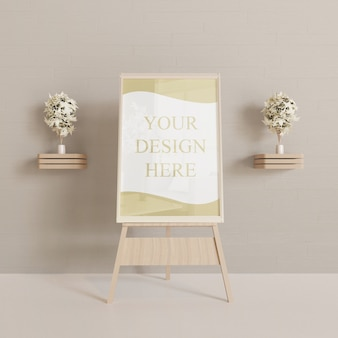 Horizontal frame mockup on the wooden easel