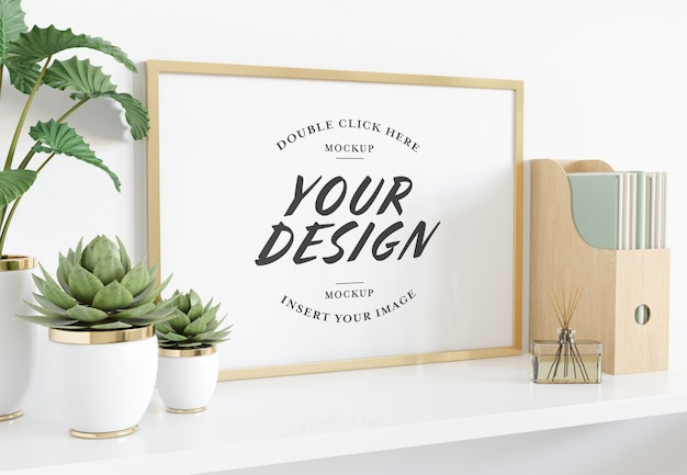 Horizontal golden frame laying on shelf mockup