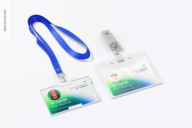 Mockup di carte d'identità orizzontale