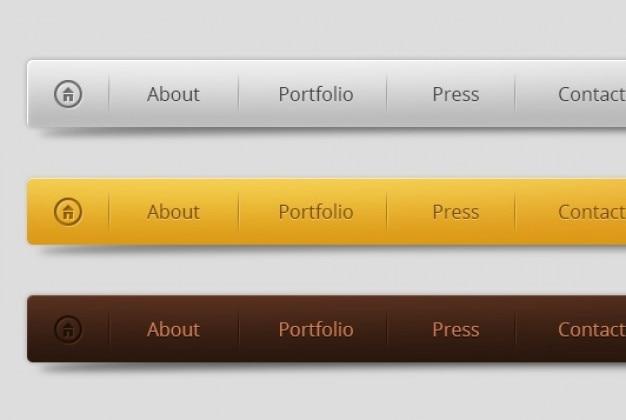 三色の水平メニューデザイン