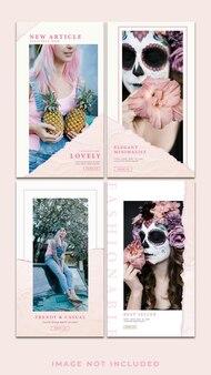 수평 최소한의 패션 소셜 미디어 인스 타 그램 스토리 템플릿 팩