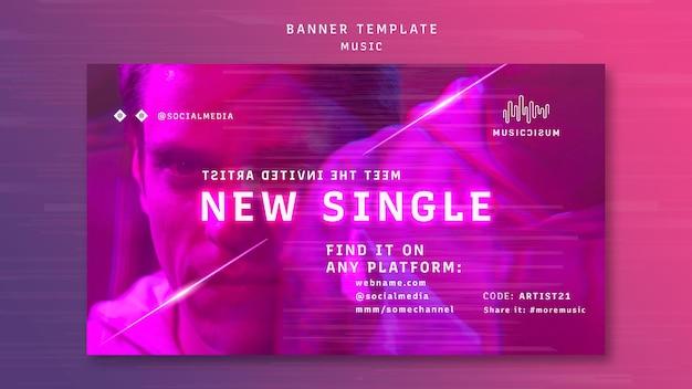 Modello di banner orizzontale al neon per musica con artista