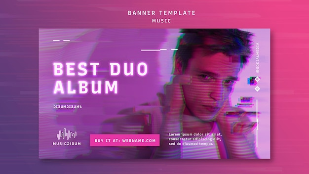 Horizontal neon banner template for music with artist