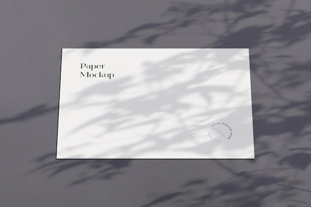 Horizontal paper mockup with shadow overlay