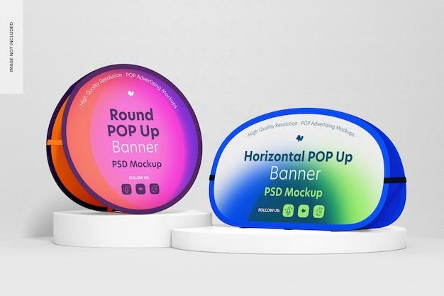 Mockup di banner pop-up orizzontali