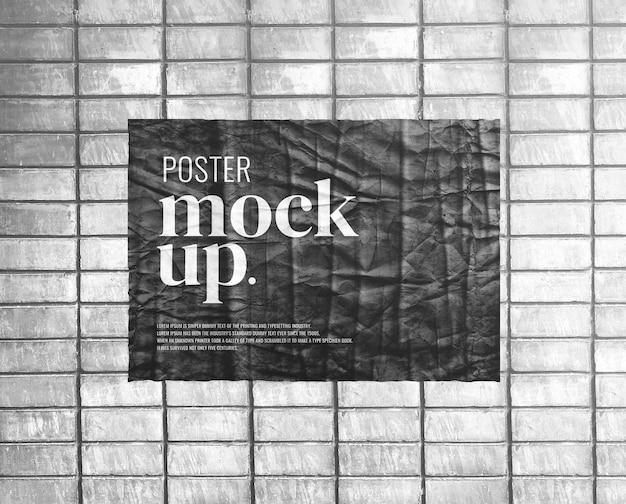 Horizontal poster paper mockup realistic