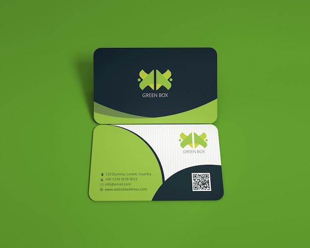 Horizontal round corners business card mockup
