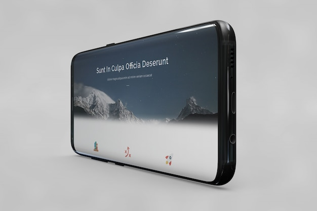 Horizontal smartphone mockup Free Psd