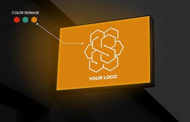 Horizontal square sign logo mockup on wall with editable colors