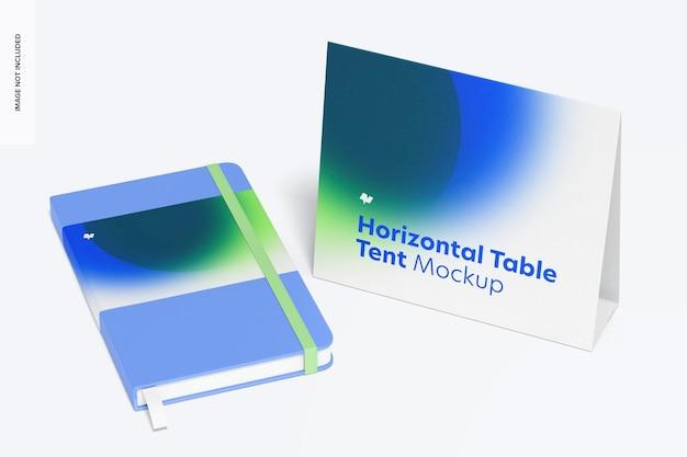 水平テーブルテントカードモックアップ、右側面図