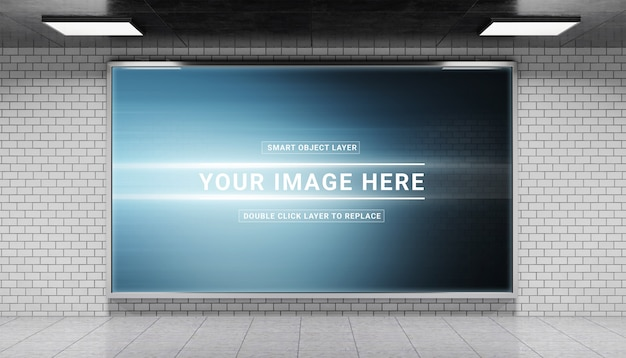Horizontal underground billboard in tunnel mockup