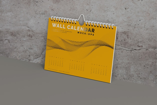 Mockup di calendario da parete orizzontale