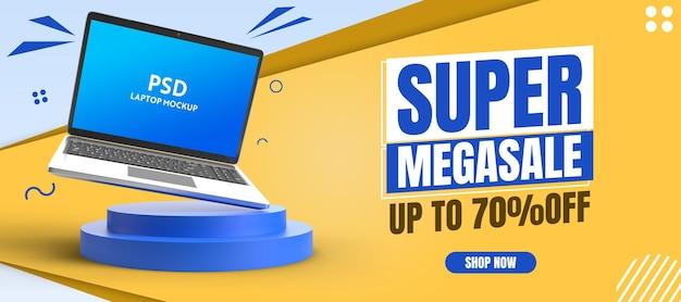 Horizontal web banner with laptop laptop mockup