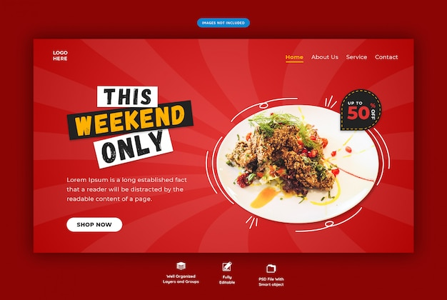 Horizontal web template for restaurant