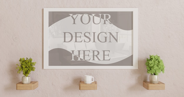 Horizontal white frame mockup on wall with plants decoration