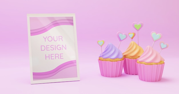 Horizontal white frame mockup with sweet colorful cupcakes in pink surface background, 3d render