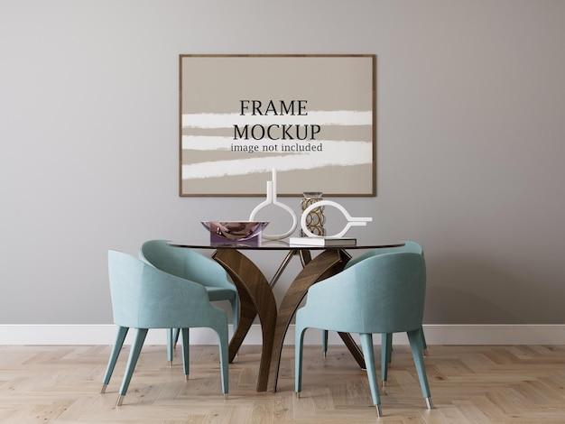 Horizontal wood frame mockup for your design ideas