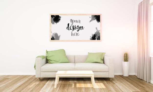 Horizontal wooden frame mockup on a living room