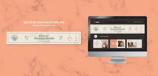 Horizontal youtube banner for floral arrangements shop
