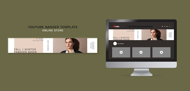 Horizontal youtube banner for minimalistic online fashion store