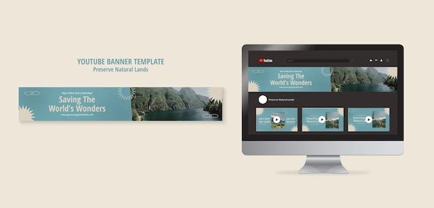 Banner orizzontale di youtube per la conservazione della natura con il paesaggio