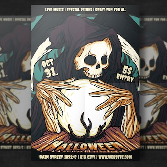 Horror halloween party flyer template