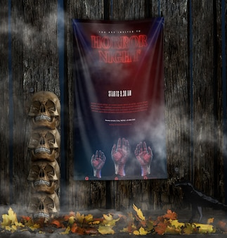 Horror night halloween poster with pile of skulls
