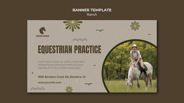 Modello di banner di ranch di cavalli