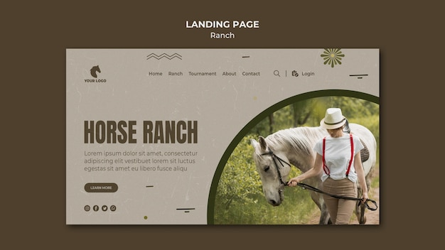 Horse ranch landing page template