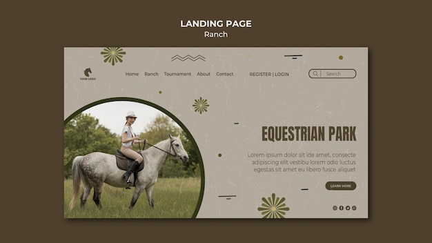 Horse ranch template landing page