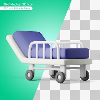 Больничная койка отделение интенсивной терапии 3d иллюстрация 3d значок редактируемый цвет изолированный
