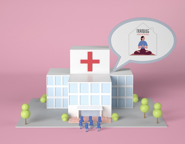 Hospital building with robots and training at home chat bubble