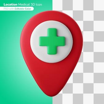 Отметка местоположения больницы на карте символ 3d иллюстрация 3d значок редактируемый цвет изолированный