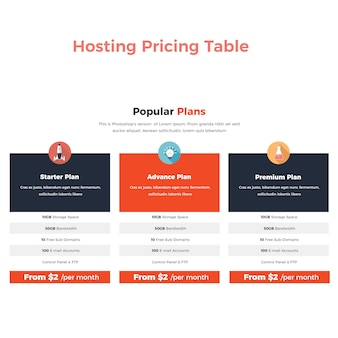 Hosting pricing table banner