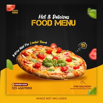 Шаблон сообщения в социальных сетях меню горячей и вкусной еды