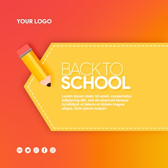 Hot banner social media back to school with pencil