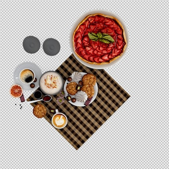Hot cappuccino and desserts 3d isolated render