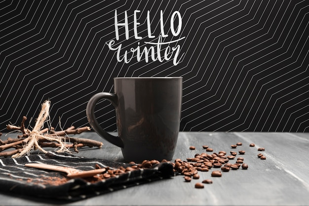 Hot coffee on cold season concept