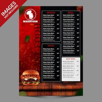 핫 다크 레스토랑 또는 카페 음식 메뉴 템플릿