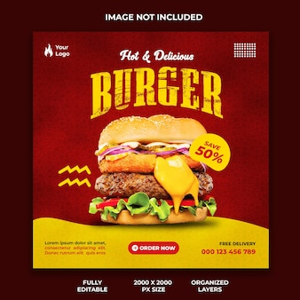 Hot and delicious burger social media post template for fast food restaurants