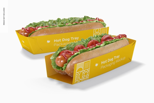 Hot dog tray packaging mockup, left view