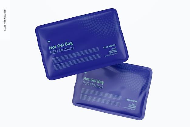Hot gel bag mockup, falling