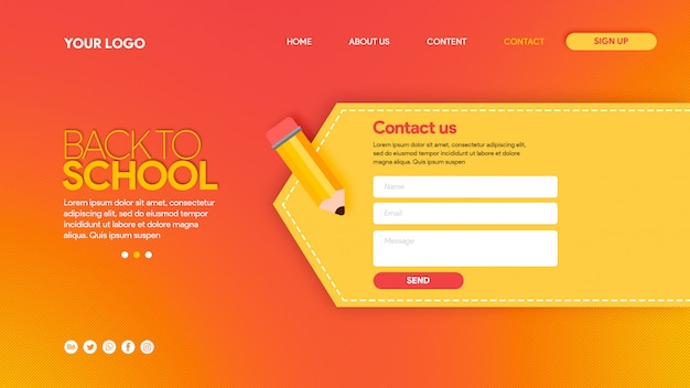 Hot landing page back to school contact