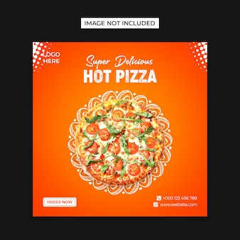 Hot pizza social  media and instagram post template