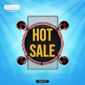 Hot sale banner 3d render premium psd