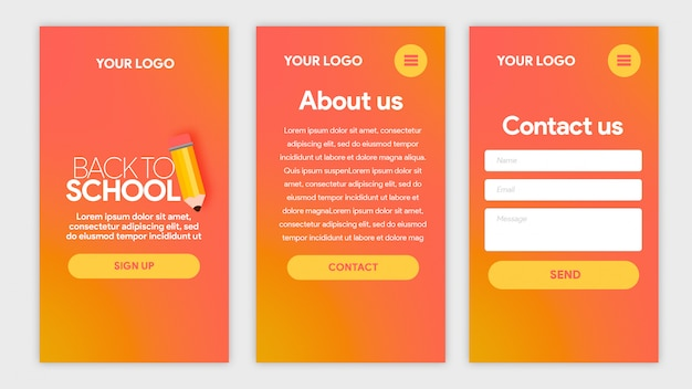 Hot template app back to school with pencil