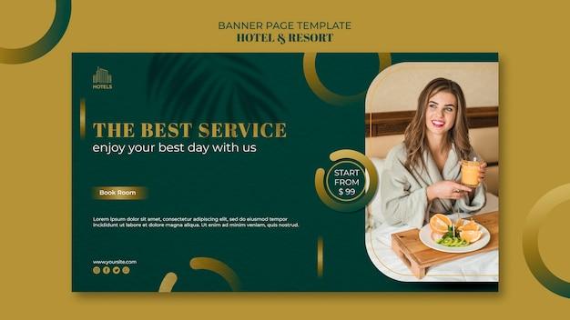 Modello di banner di concetto di hotel e resort