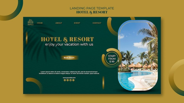 Hotel & resort concept landing page template