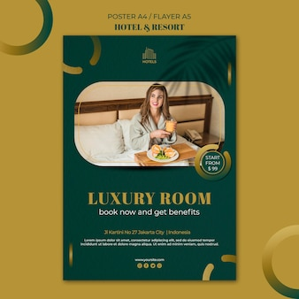 Шаблон плаката концепции отеля и курорта